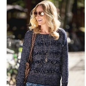 Joie Blue Fringe Sweater